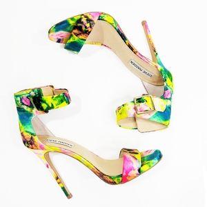 Steve Madden Tie Dye Floral Double Strap Heels